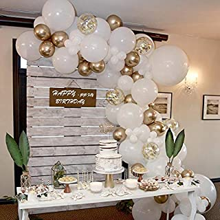 JOJO FLY 70 Pcs Balloon Garland Arch Kit with Gold and White Balloons Golden Confetti Balloons Chrome Shiny Metallic Latex Balloons for Birthday Party Decoration Baby Shower Wedding