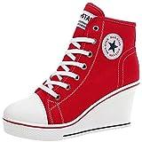 Wealsex Mujer Cuñas Zapatos De Lona High-Top Zapatos Casuales Encaje Talla Grande (Rojo,37)