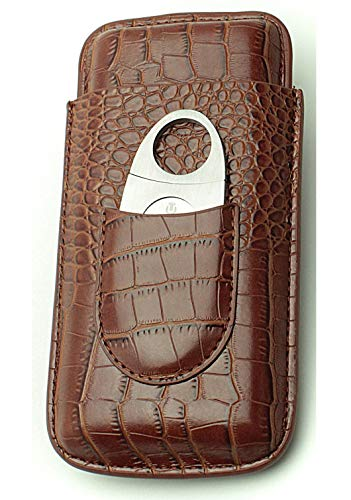 Cigar Case Travel – Cutter Included – Leather 3 Colors (Brown)