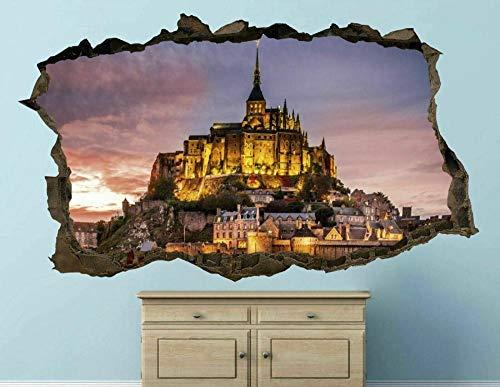 Wandsticker 3D Stadt Mont Saint Michel Abbe Selbstklebende Abnehmbaren Durchbrechen Die Mauer Vinyl Wandsticker 40x60 cm/15.7x23.6 Zoll.