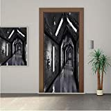 Outer Space ONE Piece Door Stickers,Dark Futuristic Corridor of Spaceship Adventure Technology Sci Fi Art Prints 30x80' Peel & Stick Removable Wall Mural,Decal,Poster for Door/Wall/Fridge Home Decor