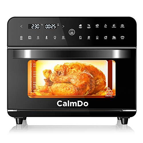 CalmDo Heißluftfritteuse 25L extra groß Fritteuse Air Fryer, Airfryer Backofen mit 12 Programme,1800W Digitalen LED-Display mit 5 Zubehör und Rezeptheft, Fritteuse Heißluft, Toaster, Dörrgerät