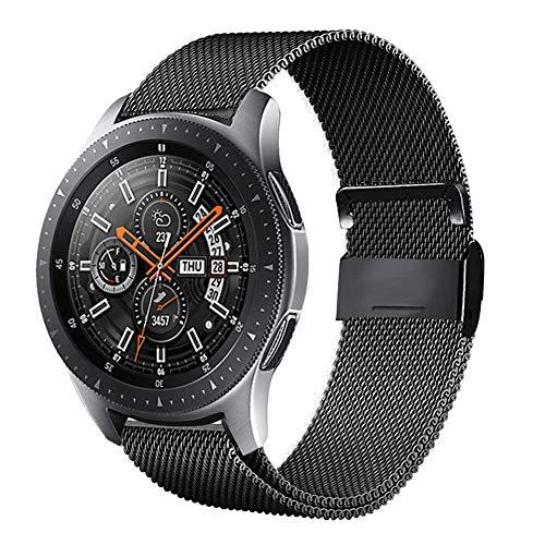 Urtone - Correa de metal para Samsung Gear S3 Frontier / Classic, 22 mm, acero inoxidable, correa de repuesto para reloj Gear S3 / Galaxy Watch 46 mm (Black01)