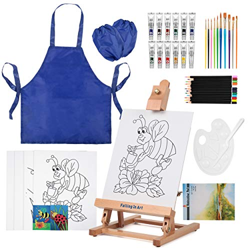 Painting Set for Kids, Falling in Art Paint Kit with Table Easel with Art Smock, 12 Acrylics, 12 Watercolor Pencils, 10 Paint Brushes, 4 Pcs 8x10 Canvas, Paper Pad and More
