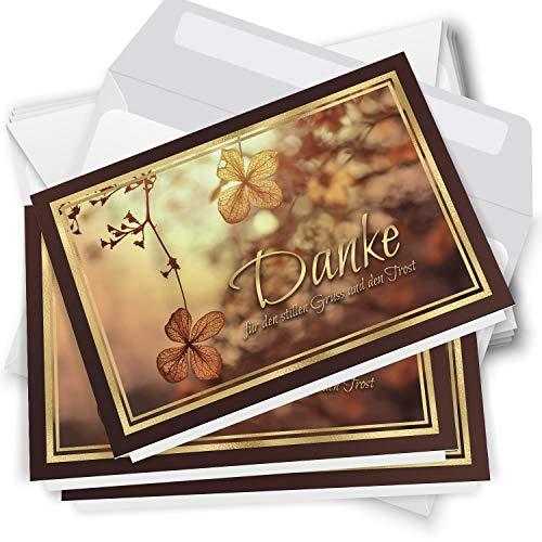 Trauer Danksagungskarten mit Umschlag   Motiv: Goldsonne, 10 Stück   Dankeskarten DIN A6 Set   Klappkarten-Trauerkarten Danksagung Danke sagen