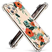 GVIEWIN Compatible with iPhone 11 Pro Case,Clear Flower Design Soft & Flexible TPU Ultra-Thin Shockproof Transparent Bumper Protective Cover,Case for iPhone 11 Pro 5.8 Inch 2019
