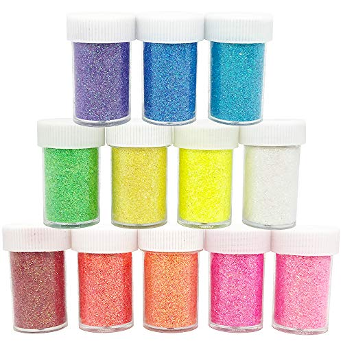 Anvin Fine Slime Glitter 12 Pack Multi Purpose Glitter Powder Sequins in Shake Jars for Arts and Crafts Projects Decoration Cards Flowers Scrapbooking Glitter Slime Making Nail Art Polish- Color B