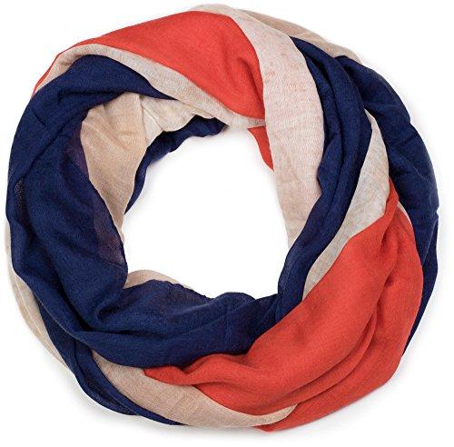 styleBREAKER Loop Schlauchschal im Frankreich Flaggen Vintage Design, Schal, Tuch, Unisex 01016116, Farbe:Blau-Weiß-(Beige)-Rot