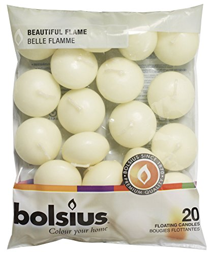 Bolsius Floating Float Candles Pond Fish Tank Water Bowl Indoor OutdoorColour:Ivory Pack Size:20 Candles