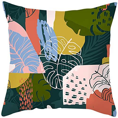 KnBoB Funda de Almohada Poliéster Patrón de Hojas Rosa Verde Amarillo 45 x 45 cm Estilo 19