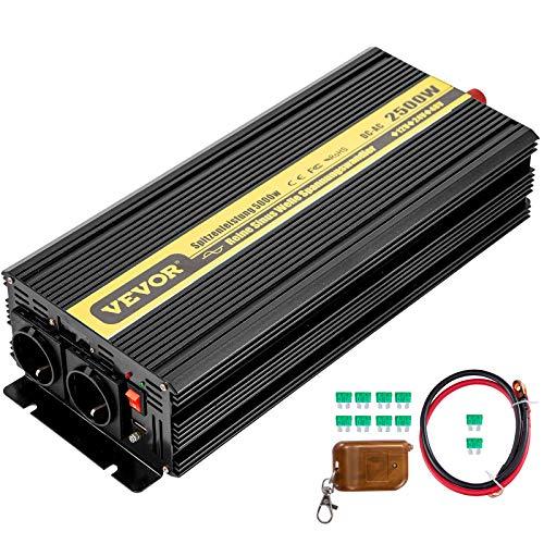 VEVOR 230V Spannungswandler Wechselrichter, 2500W Reiner Sinuswellen Wechselrichter, GYS-2500W 12V DC Pure Sine Wave Power, Reiner Sinus-Wechselrichter Fernbedienung mit Kabel kein Bildschirm