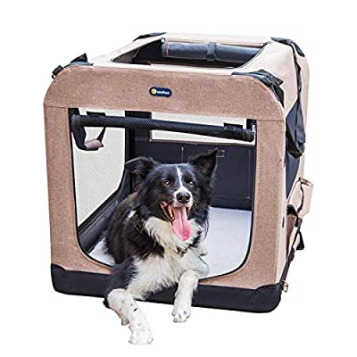 """Veehoo Folding Soft Dog Crate, 3-Door Pet Kennel for Crate-Training Dogs, 5 x Heavy-Weight Mesh Screen, 600D Cationic Oxford Fabric, Indoor & Outdoor Use, 40"""", Beige Coffee"""