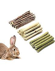 Bastoncini da masticare a forma di coniglio, 3 tipi di giocattoli da masticare con bastoncini di mela naturali al 100% e bambù dolce, giocattolo per la macinazione dei denti