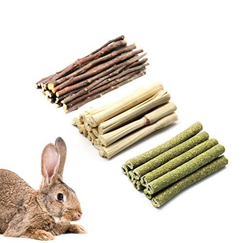 Barley Ears - Juguete masticable para los molares para conejito, hámster, loro, chinchilla, conejillo de indias, jerbo con palos de hierba natural, manzana, bola de flor de rosa