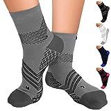 TechWare Pro Plantar Fasciitis Socks – Therapy Grade Cushion Ankle Compression Socks Women & Men. Nano Socks & Arch Support (Gry/Blk XLarge)