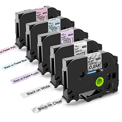 Oozmas Ruban pour Étiqueteuse Compatible pour Brother P-Touch TZ Tape 12mm, pour Brother P-Touch H100lb H110 E100, Tape Cassette TZe-231 TZe-131 TZe-MQF31 TZe-MQ531 TZe-MQE31 (Pack de 5) 
