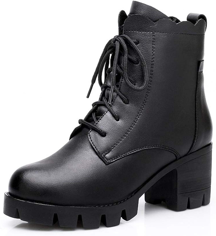 Btrada Women's Ankle Boots Square High Heels Waterproof shoes Warm Plush Lining Ladies Zipper Booties