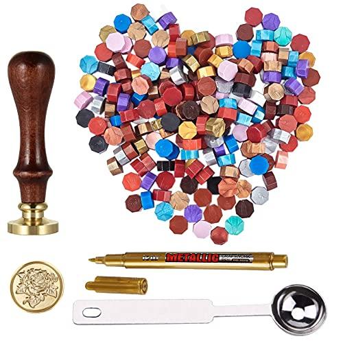 GESTAND Juego de sellos de cera (180 unidades, perlas de cera, 1 sello de sello, 1 cuchara de fundición, juego para cartas)