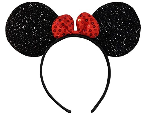 (Glitter Ears) Glitzernden Schimmernde Schwarz Rot Bow Minnie Mouse Ohren Disney Kostümfest Ohr-Stirnband