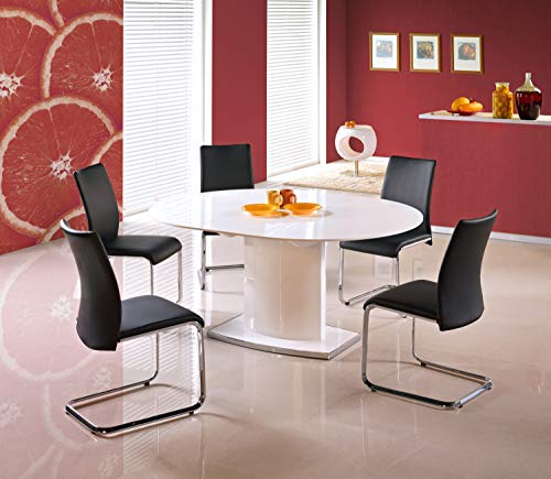 Federico White High Gloss Extending Round (Oval) Dining Table