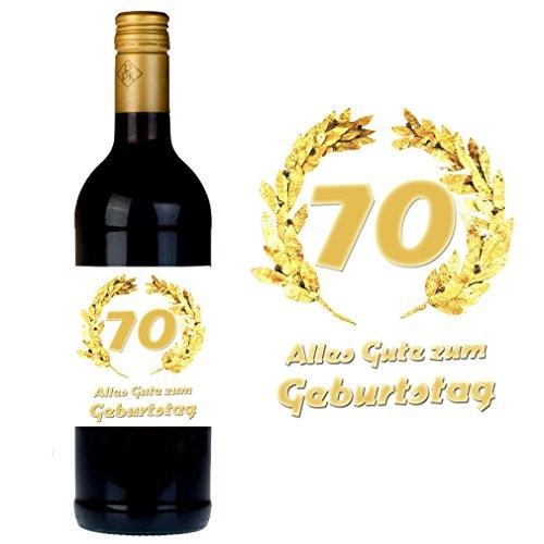 SHIRT-TO-GO Flaschenetikett zum 70. Geburtstag für Wein und Sektflaschen als Geschenkidee zum 70. Geburtstag