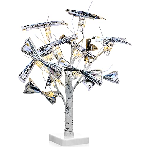 Money Holder Tree Present Card Holder, LED Birch Twig Tree Lights Tabletop, Display Tree with 12 Clear Clips and 1 USB Cables for Christmas, Memo, Present Card, Photo, Wedding, Birthday (White)