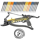 KingsArchery Crossbow Self-Cocking 80 LBS with Adjustable Sights, 3 Aluminium Arrow Bolts, Spare Crossbow String and Caps, and Bonus 24-Pack of Colored PVC Arrow Bolts
