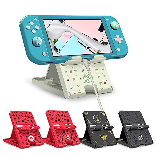 KUEEN Support pour Nintendo Switch, Pliable Stand Support Portable Compact Crochet Réglable en Hauteur Compatible avec Joycon Switch Lite (Animal Crossing)