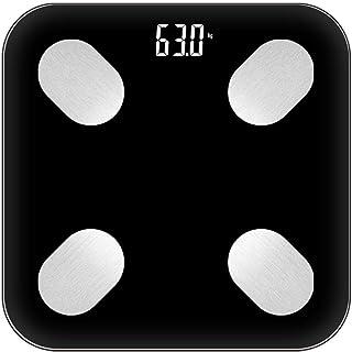 Zené Equipos de excavación báscula de baño, balanza de peso LED Digital escala de grasa corporal piso científica electrónica inteligente, 180kg Bluetooth Android App iOS Max, blanca