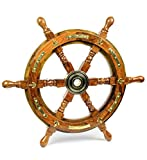 Nagina International Nautical Premium Sailor's Hand Crafted Brass & Wooden Ship Wheel | Luxury Gift Decor | Boat Collectibles (16 Inches, Anchor & Strip)