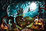 EdCott 7x5ft Halloween Fond Haunted House Grimace Citrouille Photographie Toile Fond Gloomy Cemetery...