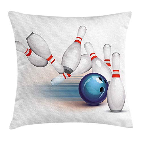 zhkx Soft Throw Pillow Case Bowling Party Decorations Cushion Cover, Thrown Ball Scattered Pins Speed Hit Target Shot Score, Decorative Cushion Cover Pillowcase Sofa 18'x 18', White Light Blue Red