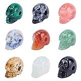PandaHall 9 cuentas de calavera con piedras preciosas, figura humana de cristal, estatua de calavera surtida para pulseras, collares, joyas y manualidades