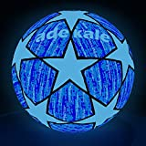 adekale Soccer Ball,Battery-Free Light Up Soccer, Glow in The Dark Soccer, Fluorescent Bright After Sun Shine,Official Size& Weight (Size 5) with Pump for Man Teen Boy (Green Light)