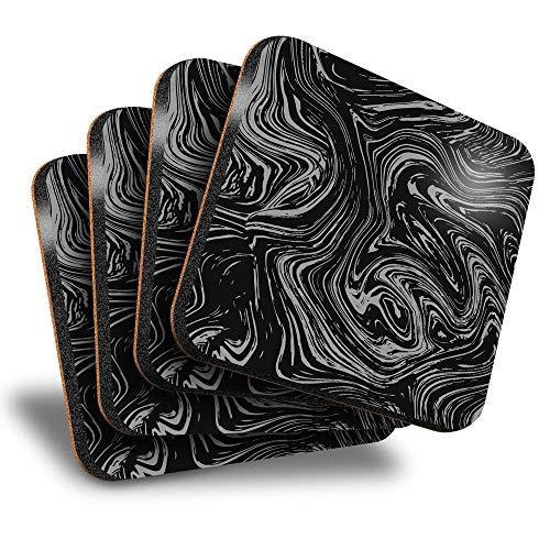 Destination Vinyl ltd Great Posavasos (juego de 4) cuadrados – BW – Pintura de mármol pintura arte bebida brillante posavasos/protección de mesa para cualquier tipo de mesa #35883