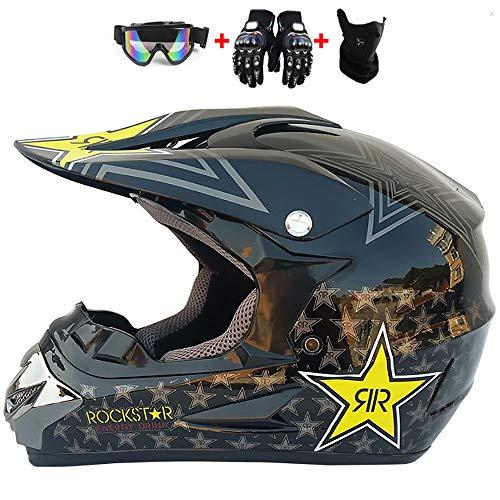 WRISCG Casco Motocross De Casco De Moto + Gafas + Guantes De Motocicleta + Mascarilla, Motocross Casco Apto para Adultos Y Niños,L
