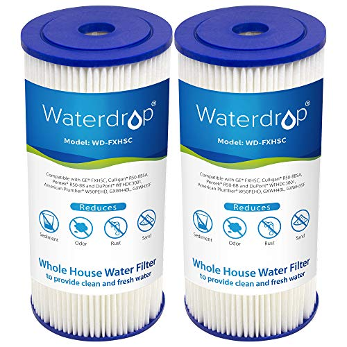 Waterdrop FXHSC Whole House Sediment Filter, Compatible with GE FXHSC, Culligan R50-BBSA, Pentek R50-BB and DuPont WFHDC3001, American Plumber W50PEHD, GXWH40L, GXWH35F (Pack of 2) (Packing May Vary)