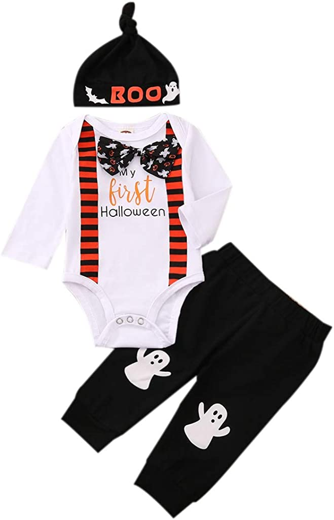 Newborn Baby Boy My First Halloween Long-sleeved Ghost Romper + Stripe Pants + Hat 3Pcs Halloween Clothes Outfits