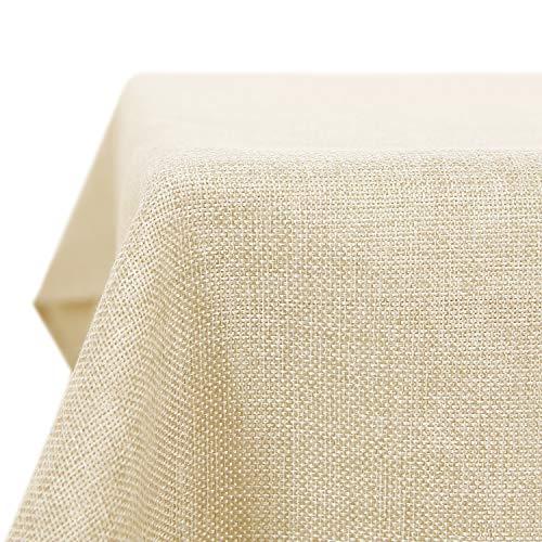 Deconovo Leinenoptik Tischdecke Wasserabweisend Tischwäsche Lotuseffekt 130x130 cm Creme