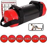 POWRX Power Bag 5-30 kg Kunstleder Fitness Bag für Functional Fitness (5 kg Schwarz/Rot)