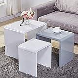 Goldfan - Juego de 3 mesas nido de alto brillo, mesa auxiliar multifuncional, para muebles de salón, color blanco y gris