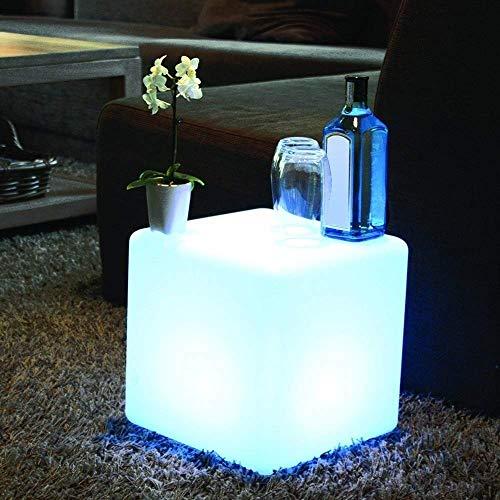 Télécommande LED Lumineux Meubles Barre Led Cube Seat Chaise Veilleuse Extérieur Tabourets De Bar De Table En Plastique Lámparas Recargables De Nuit D'éclairage Réglable 16 RGB Cambio De Color Moo