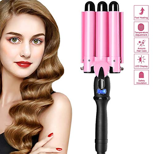 [2021 UPGRATED Version]3 Barrel Hair Curling Iron,Hair Curler Waver with LCD Temp Display, Fast Heating Triple Barrel Hair Curling Iron, Tourmaline Ceramic Curling Wand Hair Roller for Long Short Hair