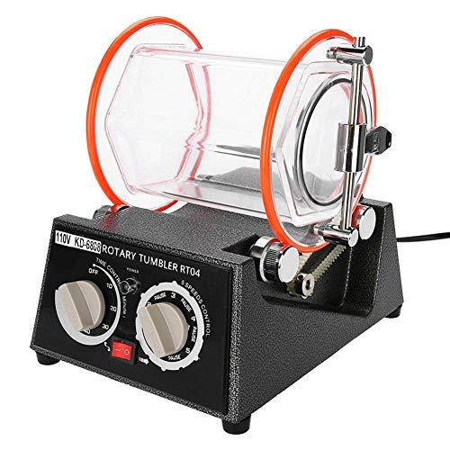 Vaso Pulidor de Joyas, 5 Control de Velocidad Bidireccional Roca Rotativa Máquina Pulidora Joyas Amoladora Banco Limpiador Cuentas de Pulido Acabadora Pulidora de Joyas con Función de Temporizador(UE)