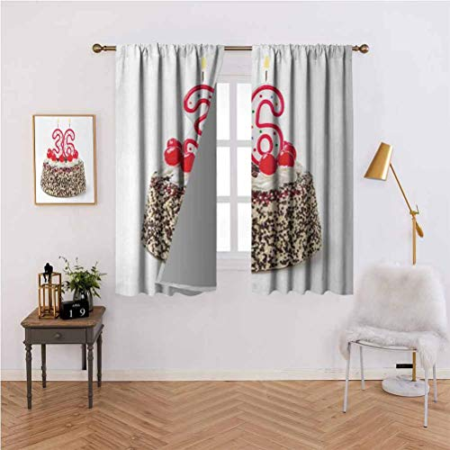 Fun Curtains,Happy Birthday Party Theme Cake with Candles and Sprinkles Artwork Print,Insulating Curtains for Rooms 52x84 Inch