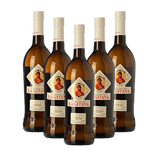 Vino Manzanilla La Gitana de 75 cl - D.O. Manzanilla-Sanlucar de Barrameda - Bodegas Hidalgo La Gitana (Pack de 5 botellas)