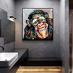 YuanMinglu Animal Graffiti Art Cute Monkey impresión en Lienzo Pintura Arte Callejero Pintura de Pared para niños Carteles e Impresiones de la Pared del hogar Pintura sin Marco 50x50cm