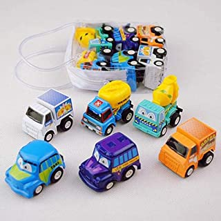6pcs Pull Back Car Toys Car Children Racing Car Baby Mini Cars Cartoon Pull Back Bus Truck Kids Toys For Children Boy Gifts GYH