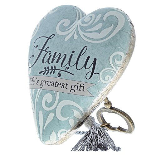 DEMDACO Family Life's Greatest Gift Blue Damask 4 x 3 Heart Shaped Resin Keepsake Art Hearts Decoration with Key and Tassel