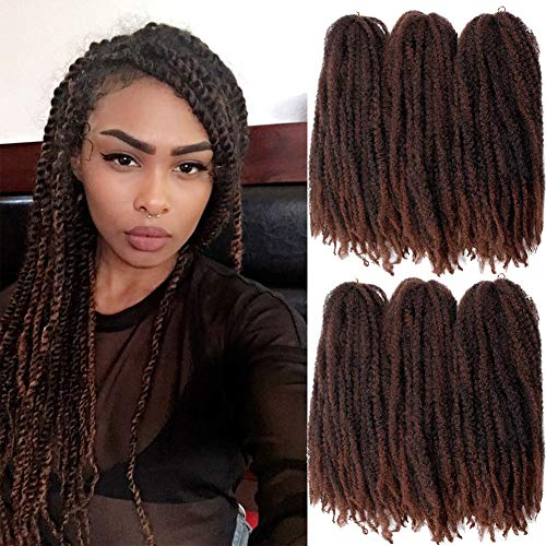 6 Packs Marley Braiding Hair 24 Inch Marley Hair For Faux Locs Long Kinky Afro Marley Twist Braiding Hair Synthetic Crochet Hair Extensions 100% Kanekalon Fiber (24Inch T30)